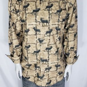 Woolrich Mens Tan Flannel Button Shirt Size Large